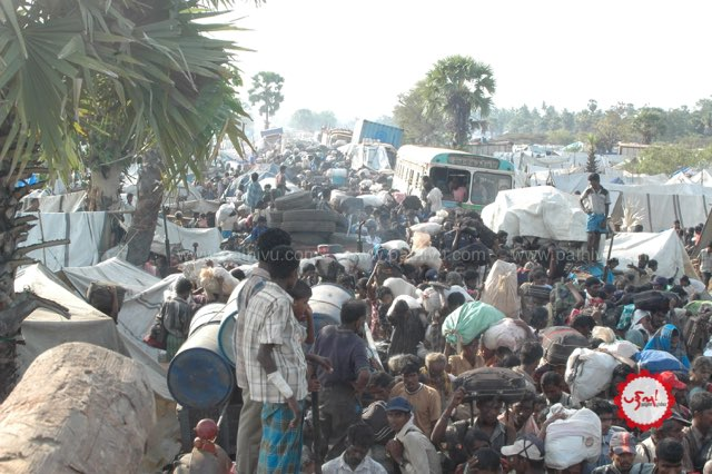Tamil Civilians Fleeing Bombing by Sri Lankan Forces