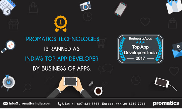 Business of Apps ranks Promatics Technologies as India's Top App Development Company
