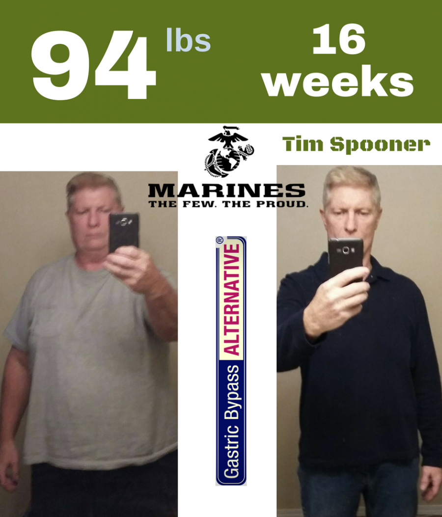 """From 262 lbs man to 168 lbs healthy fit and masculine in 16 weeks without surgery. Tim used the Gastric Bypass ALTERNATIVE regimen which claims to be """"Cheaper, safer and better than any weight loss surgery"""". His cost, only $12 per lb lost."""