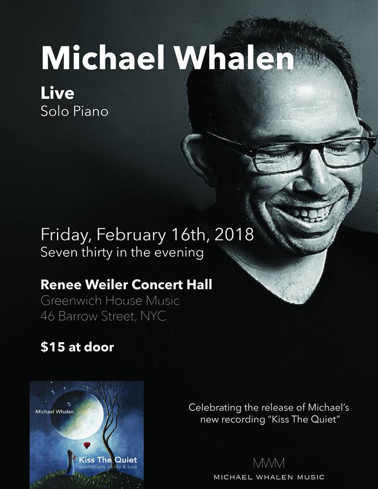 Michael Whalen Concert Poster for February 16th in New York