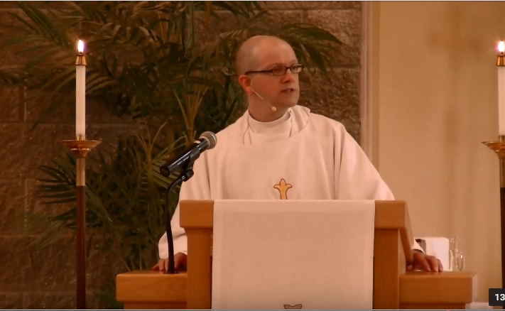 Image of The Rev. Jay Lawlor preaching Transfiguration Sunday at Holy Family Episcopal Church, Fishers, IN