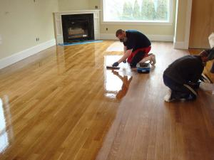 finishing the wood floors