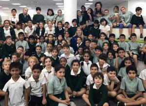 Astronaut Abby meeting with students at the Jumeira Baccalaureate School in Dubai, United Arab Emirates - January 2017