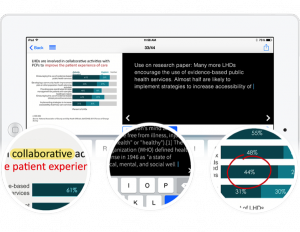 Attendees can highlight text, type notes, and draw on slides using the eventScribe Event App.