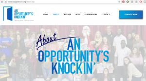 Website of An Opportunity's Knockin which benefited from the Lauletta Birnbaum Tournament