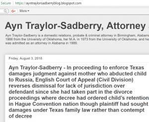 Blog of attorney Ayn Traylor Sadberry