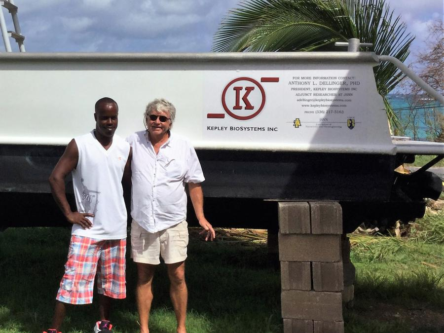 KBI Cheif Invetor, Terry Brady, and renowned Anguillian fisherman, Patrick Webster