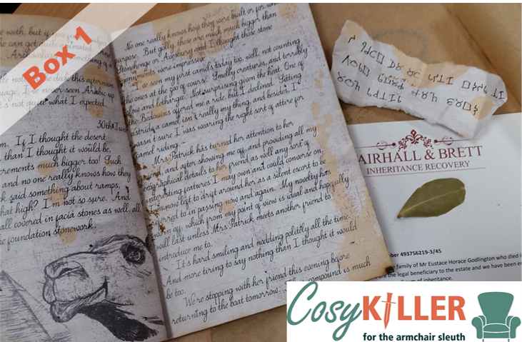 Cosykiller box one, with letter from the heir hunter, a burned journal, and cipher