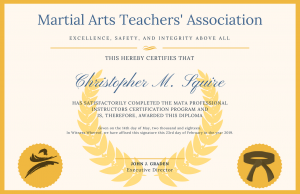 The universal instructor certification course by the Martial Arts Teachers' Association