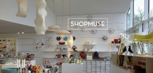 Interior image of a contemporary museum store showing furniture, lighting and beautiful merchandise