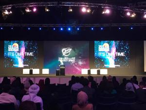 Astronaut Abby speaking at the Project Space event in the United Arab Emirates - January 2017