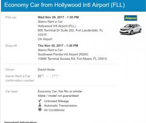 Alamo Car Rental Reservation, FLL