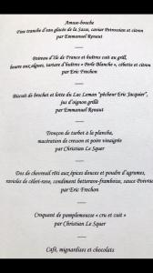 Menu from The St Barts Gastronomic Dinner