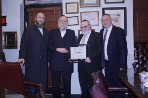 From left to right: Ezra Friedlander, Rabbi Chaim Waldman, Dr. Joshua Weinstein, Rabbi Motty Katz
