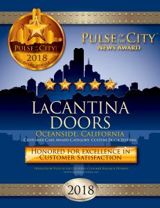 LaCantina Doors San Diego 2018 Pulse of the City News Award