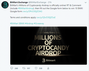 Millions of Cryptocandy Airdrop Twitter Giveaway
