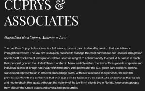 Website Magdalena Cuprys, Immigration Attorney in Florida