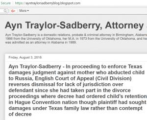Blog of attorney Ayn Traylor Sadberry