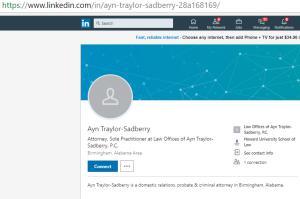 LinkedIn Profile of Attorney Ayn Traylor Sadberry