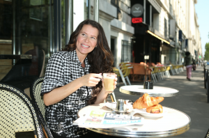 Enjoying a croissant while filming new TV series in France