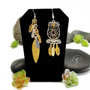 Mismatched Dreaming Owl Earrings from Sonora Kay Creations