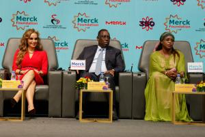 Dr. Rasha Kelej, CEO of Merck Foundation with H.E. MACKY SALL, The President of Senegal and H.E. MARIEME FAYE SALL, The First Lady of Senegal.