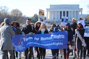 Human Rights Activists marching from the Lincoln Memorial.