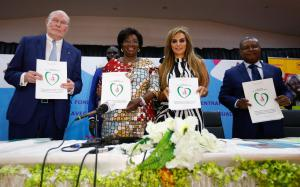 Dr. Rasha Kelej, CEO of Merck Foundation & President, Merck More Than a Mother with H.E. MADAM BRIGITTE TOUADERA, The First Lady of Central African Republic