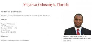MO Professional Profile of Mayowa Odusanya, Florida