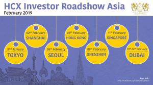 HCX to take ICOs & STOs on Investor Roadshow in Asia February 2019