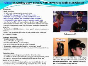 iGlass, 4K Quality Giant Screen, Non-immersive Mobile XR Glasses for 5G Showcase
