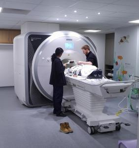Thomas Baker having MRI to monitor his Arthritis